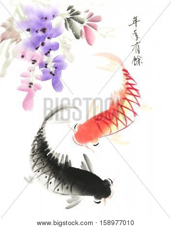 Red and black koi carps hand drawn in traditional style,chinese word mean good bless