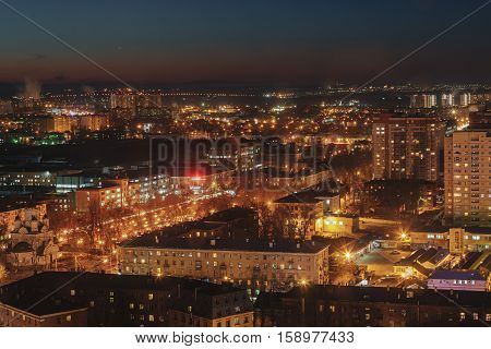 City at night, panoramic scene of Voronezh.   night lights, modern houses, skyscrapers, long exposure