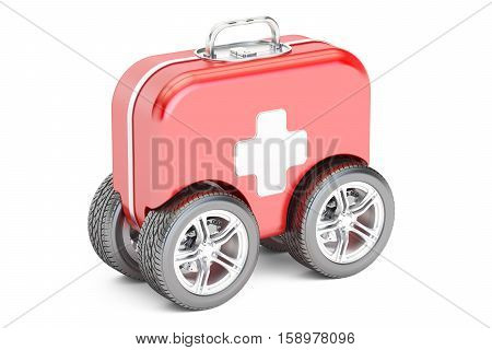 First Aid Kit on Wheels 3D rendering isolated on white background