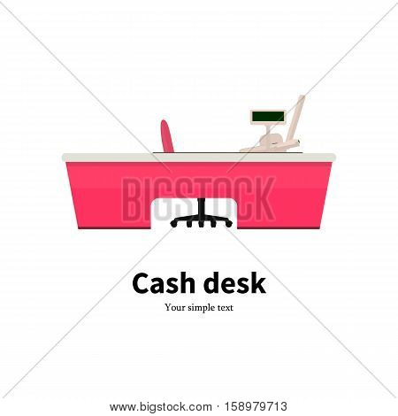Vector illustration of colored cash desk. Icon cash register at a supermarket. Isolated on white background. Flat style. Cashbox in the store. Rack for cash. Workplace for the cashier.