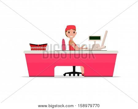 Vector illustration cartoon girl sitting behind the cash register. Cashier behind the counter in the supermarket. Seller at the store for cash desk, cash stand. Isolated white background. Flat style.
