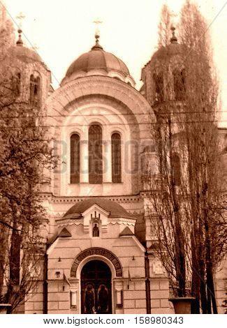 Kiev Ukraine - May 1964: Facade of Saint Volodymyr's Ukrainian Orthodox Cathedral.