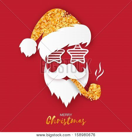 Merry Christmas greeting card with papercraft golden glitter Santa Claus with pipe and sunglasses on red background. Hipster style. Vector illustration