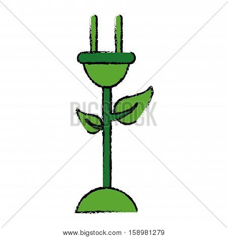 drawing plug cable leaves ecology energy symbol vector illustration eps 10