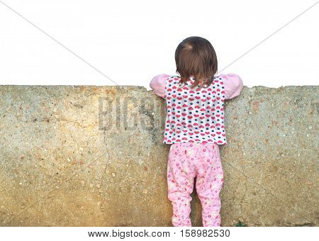 Little girl looking for a wall. Conceptual design. Isolated object.