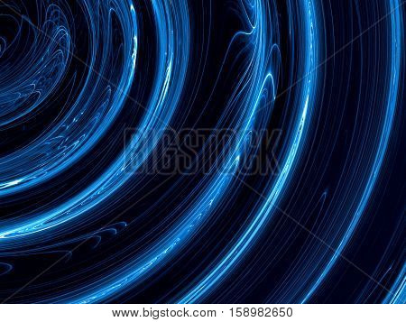 Tech blue background - abstract computer-generated image. Fractal art: part of glowing in dark textured concentric circles like tunnel. For covers, web design, posters.