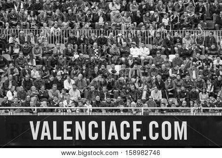 VALENCIA, SPAIN - NOVEMBER 20th: Valencia supporters during La Liga soccer match between Valencia CF and Granada CF at Mestalla Stadium on November 20, 2016 in Valencia, Spain