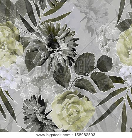art vintage monochrome grey blurred watercolor and graphic floral seamless pattern with roses, peonies, gerbera, asters and dark leaves on  background. Double Exposure effect