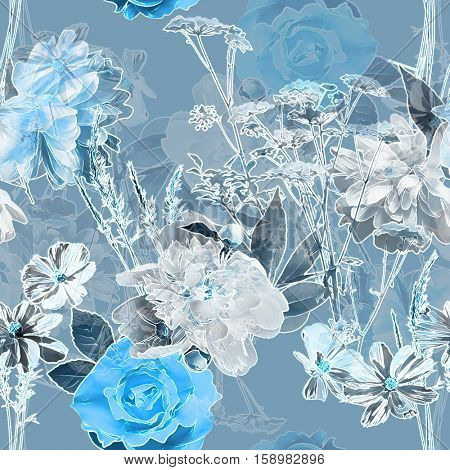 art vintage blurred monochrome blue watercolor and graphic floral seamless pattern with white peonies, roses and leaves on background. Double Exposure effect