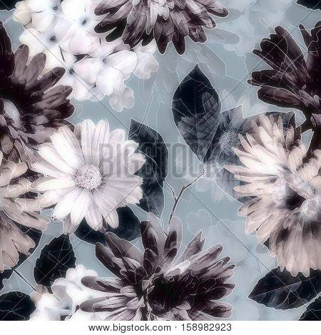 art vintage monochrome purple blurred watercolor and graphic floral seamless pattern with white gerbera and asters, dark leaves on grey background. Double Exposure effect