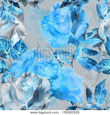 art vintage monochrome blue blurred watercolor and graphic floral seamless pattern  with roses and leaves on background. Double Exposure effect