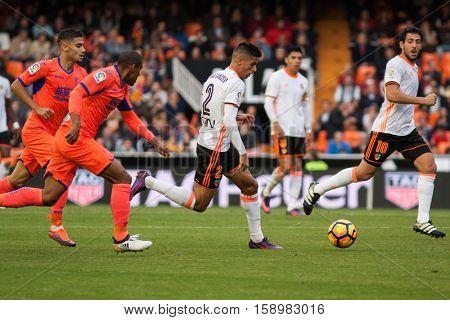 VALENCIA, SPAIN - NOVEMBER 20th: Cancelo with ball during La Liga soccer match between Valencia CF and Granada CF at Mestalla Stadium on November 20, 2016 in Valencia, Spain