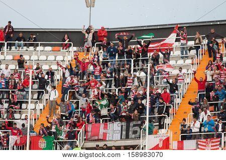 VALENCIA, SPAIN - NOVEMBER 20th: Granada supporters during La Liga soccer match between Valencia CF and Granada CF at Mestalla Stadium on November 20, 2016 in Valencia, Spain