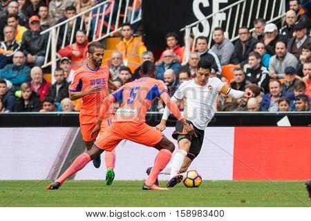 VALENCIA, SPAIN - NOVEMBER 20th: Perez with ball during La Liga soccer match between Valencia CF and Granada CF at Mestalla Stadium on November 20, 2016 in Valencia, Spain