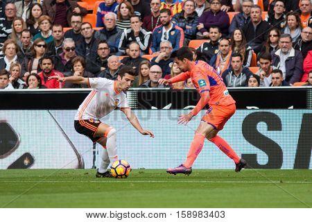 VALENCIA, SPAIN - NOVEMBER 20th: Gaya with ball during La Liga soccer match between Valencia CF and Granada CF at Mestalla Stadium on November 20, 2016 in Valencia, Spain