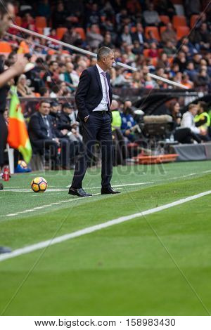 VALENCIA, SPAIN - NOVEMBER 20th: Granada coach Lucas Alcaraz during La Liga soccer match between Valencia CF and Granada CF at Mestalla Stadium on November 20, 2016 in Valencia, Spain