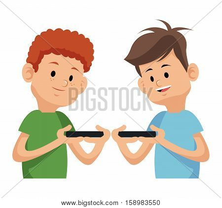 two boy playing video game with moblie phone vector illustration eps 10