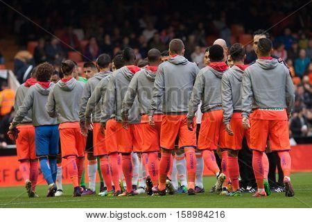 VALENCIA, SPAIN - NOVEMBER 20th: All players during La Liga soccer match between Valencia CF and Granada CF at Mestalla Stadium on November 20, 2016 in Valencia, Spain