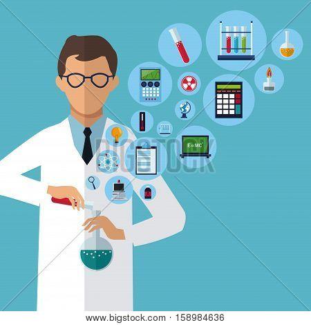 medical scientist experiment laboratory supplies vector illustration eps 10