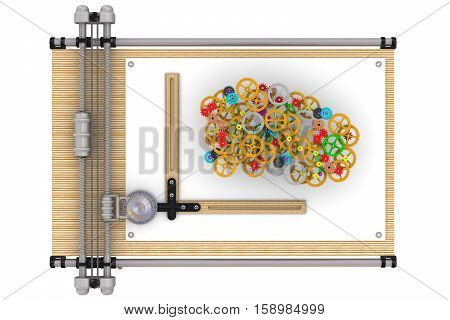 Design. Plenty of colorful gears are on the drawing board sheet. The concept of the idea the development design. Isolated. 3D Illustration