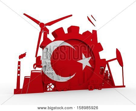 Energy and Power icons set with Turkey flag. Sustainable energy generation and heavy industry. 3D rendering