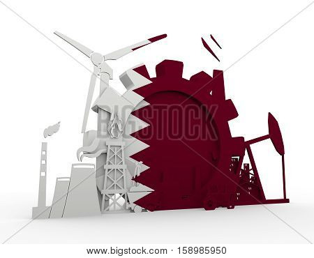 Energy and Power icons set with Qatar flag. Sustainable energy generation and heavy industry. 3D rendering