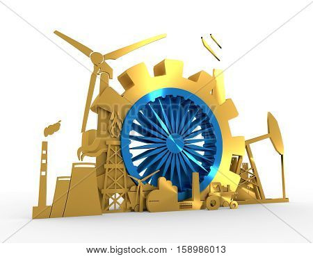 Energy and Power icons set with India flag element. Sustainable energy generation and heavy industry. 3D rendering