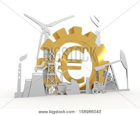 Energy and Power icons set on white backdrop. Sustainable energy generation and heavy industry. 3D rendering. Golden material. Euro money sign
