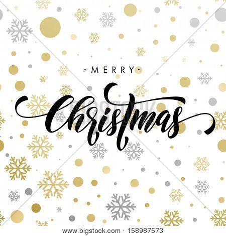 Ornaments and decorations of gold for Christmas holiday. Merry Christmas calligraphy with modern background for greeting card. Vector winter pattern of sparkling golden and silver crystal glitter