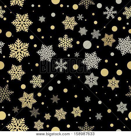 Snowflake pattern Christmas decoration background. Vector pattern of winter golden and silver crystal snow ornaments. Festive holiday decorative Christmas or New Year gift wrapping paper