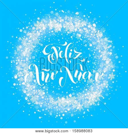 Spanish New Year Feliz Ano Nuevo. Wreath ornament decoration of sparkle glitter golden snowflakes stars pattern. Blue light vector background. Christmas decorative text calligraphy lettering