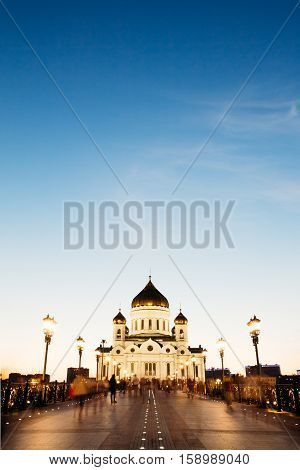 Christ the Savior Cathedral at sunset sky background in blue hour