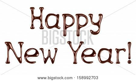 Happy new year written by liquid chocolate on white background