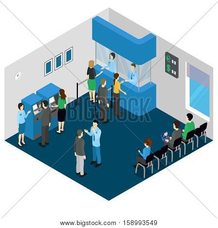 Bank office isometric concept with employees in uniform and visitors atm machine and stands vector illustration