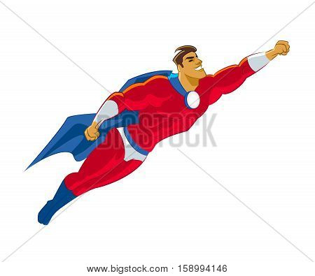 Superhero flying. Red suite. Power and speed. Vector illustration