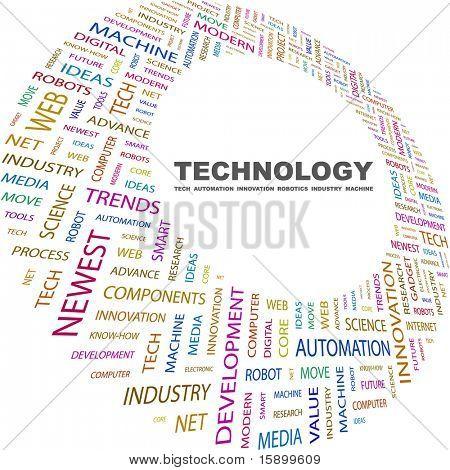 TECHNOLOGIE. Wort-Collage auf weißem Hintergrund. Vektor-Illustration. Abbildung mit verschiedenen assoc