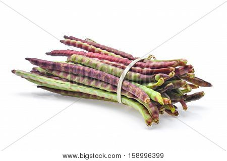 red beans podbush beans (phaseolus vulgarism) isolated on the white background