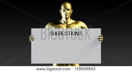 Suggestions with a Man Holding Placard Poster Template 3D Illustration Render