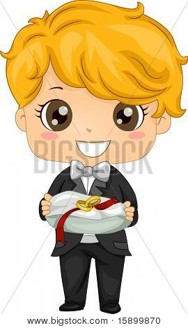 Illustration of a Ring Bearer Carrying a Pair of Rings