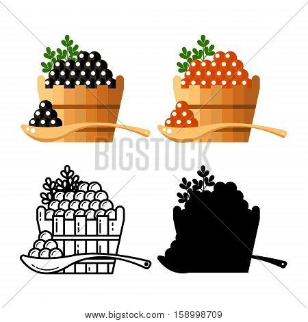 Black and red redcaviar in a wooden barrel isolated on white background. Roe thin line silhouette icon logo vector illustration. Russian traditional snack. Caviare menu for restaurant.