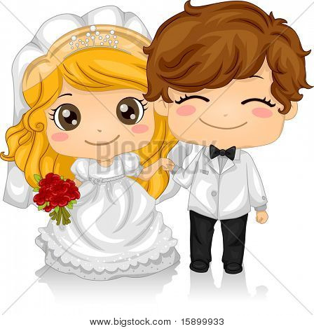 Illustration of Kids Playing Bride and Groom