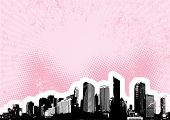 stock photo of city silhouette  - Black city with pink halftone background - JPG