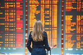 Young Female Traveler In International Airport poster