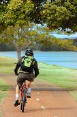 foto of bike path  - Bike Rider Along side the Swan River in Perth Western Australia - JPG