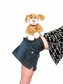 picture of bloodhound  - soft toy dog sits on the girl - JPG