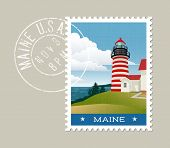 Постер, плакат: Maine postage stamp design Vector illustration of lighthouse and Atlantic coast grunge postmark on