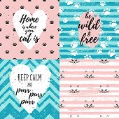 Home Is Where Your Cat Is, Be Wild And Free, Keep Calm And Purr Fashion Graphic Print, Greeting Card poster