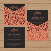 Wedding Invitation Or Greeting Card With Flower Ornament. Cut Laser Square Envelope Template. Weddin poster
