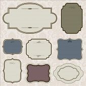 Vector ornate frame set and background pattern. Perfect for invitations and ornate backgrounds.  Pat