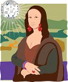 stock photo of mona lisa  - The Mona Lisa dressed as a Disco Lady - JPG